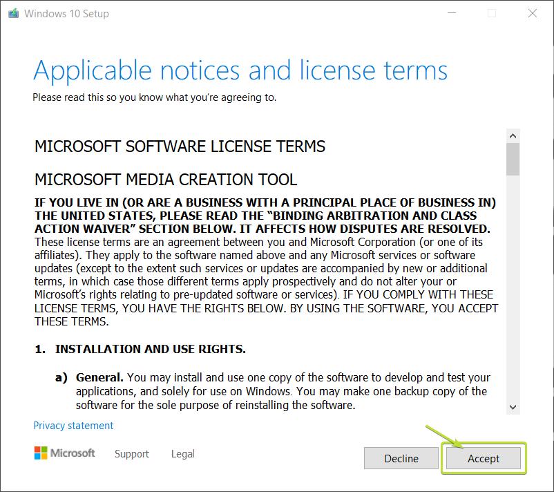 Windows Media Creation Tool Screen 1